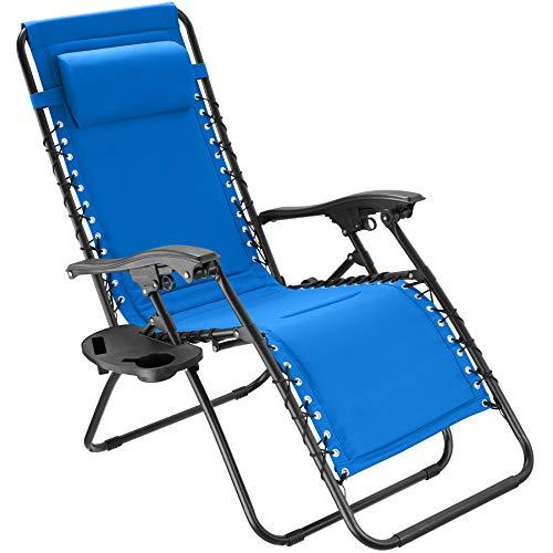 tectake 800885 Gartenstuhl Hochlehner, stufenlos verstellbare Rückenlehne, mit dekorativer Gummischnürung, ansteckbare Ablage, klappbarer Liegestuhl inkl. Kopfpolster (Blau | Nr. 403871)