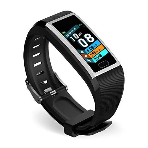LYB Pulsera de reloj inteligente Bluetooth Fitness Fit Actividad Deporte Pulsera Frecuencia Cardíaca para Android IOS iPhone (color plateado negro)