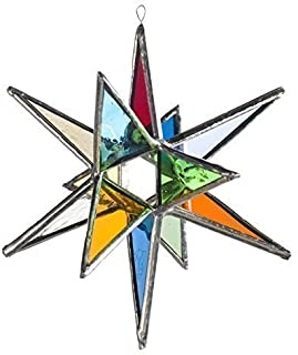 Multi Colored Star, Moravian Stained Glass Star in Two Sizes