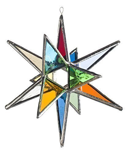 Multi Colored Star, Moravian Stained Glass Star or Tree Topper in Two Sizes