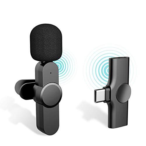 iDiskk Microfono lavalier wireless 2,4 GHz per registrazione video, streaming live FB Youtube, microfono intervistatore USB TYPE-C telefoni portatili Android PC (nessuna app richiesta)