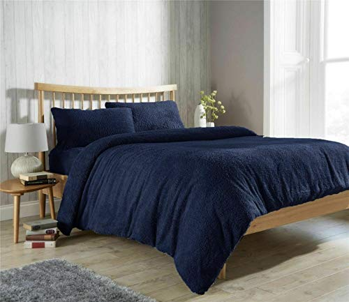 [hachette] Teddy Bear Fleece Duvet Cover Set Super Soft Warm and Cosy Bedding Set Including Pillowcases (Navy Blue, Double)