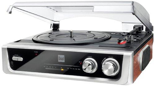 Platenspeler met ingebouwde luidsprekers • Toerentallen tpm. 33/45 • Centreerpuck • Auto-Stop-functie • Hoofdtelefoonaansluiting • FM-radio • Antenne • Chinch-aansluiting • Dual DTR 50