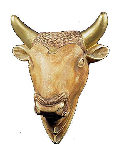 Toro Escultura máscara de toro de Creta artefacto pintada a mano