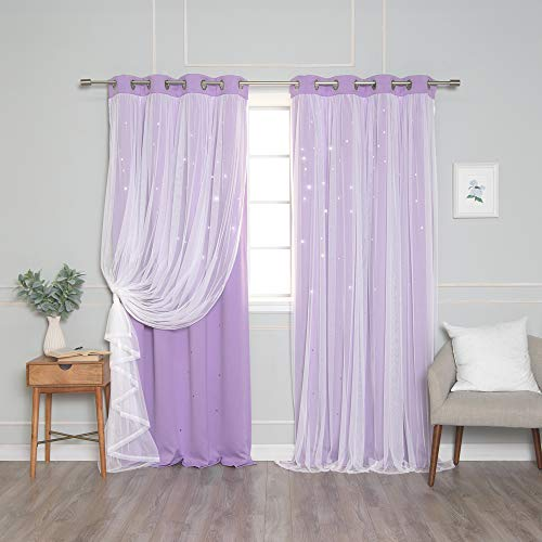 """Best Home Fashion Tulle Overlay Star Cut Out Blackout Curtains - Stainless Steel Grommet Top - Lavender - 52"""" W x 63"""" L (Set of 2 Panels)"""