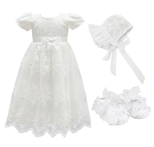 Glamulice Baby Girls Flower Christening Baptism Dress Formal Party Special Occasion Dresses for Toddler (6M / 6-12Months, White-3pcs)