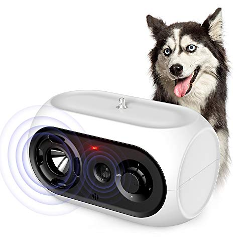 SiBei Dispositivo Antiladridos, Automática Ultrasónico Antiladridos para Perros Vecinos, Disuasivos Inhibidor de Frecuencia Recargables para Pequeños, Medianos y Grandes Perro, Interior y Exterior