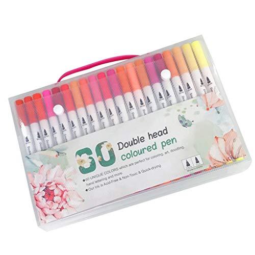 MagiDeal Bolígrafos de Pincel de Doble Punta de 60 Colores, Delineador Fino de Plástico