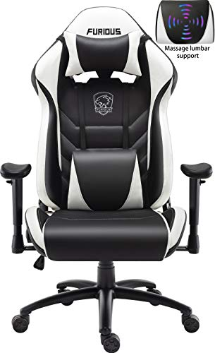 Gaming Chair Racing Style Swivel Computer Gamer Chair with Fully Foam, Esports Video Game Chair, PU Leather Executive Office Chair with Lift Headrest and Lumbar Support White chair gaming