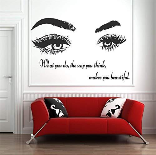stickers muraux paysage Cils cils sourcils sourcils salon de beauté autocollant citation oeil maquillage boutique