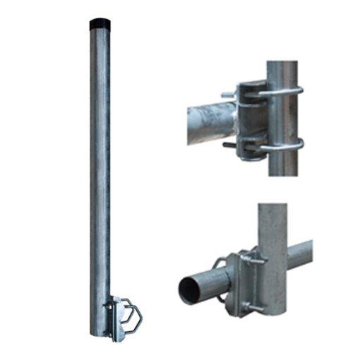 PremiumX Balkon-Halter 100cm Ø 60mm Stahl Mast 1m Geländer-Halterung für Satelliten-Schüssel SAT-Antenne Satelliten-Anlage Sat-Spiegel Ausleger - auch nutzbar als Mastaufsatz Mast-Verlängerung