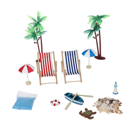 freneci Ornamento in Miniatura Stile Spiaggia Casa delle Bambole 12 Pezzi Kit Accessorio da Giardino Fatato