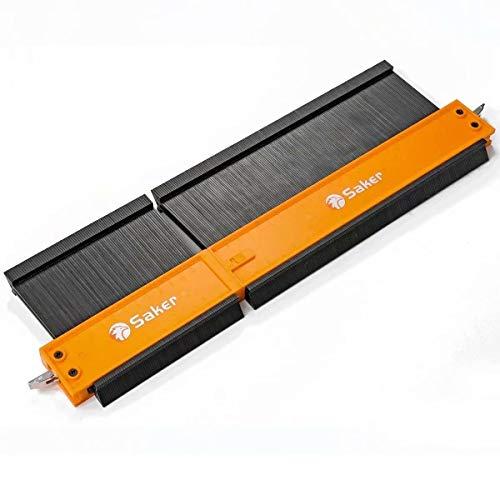 Saker Jauge de contour raccordée - Noir et orange (12 cm + 25 cm) - Jauge de multiplication avec serrure - Peut être assemblé - Soudure irrégulière - Travail du bois