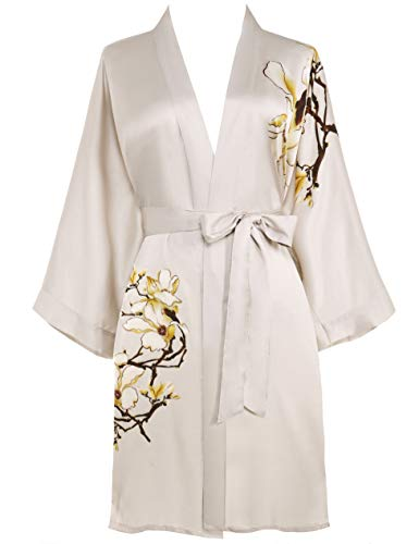 PRODESIGN - Albornoz corto para mujer, diseño de kimono Kapok, satén de raso para verano, vestido de playa, vestido de playa, chica, pajama o fiesta beige Tallaúnica