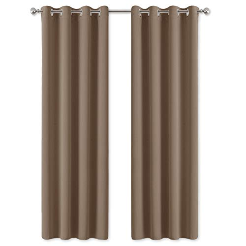 PONY DANCE Blackout Curtains with Eyelets - Durable Window Drapes with Function of Wind Proof Light Block for Thermal Insulated & Room Darken, 1 Pair, W55 x L 86-inch, Mocha