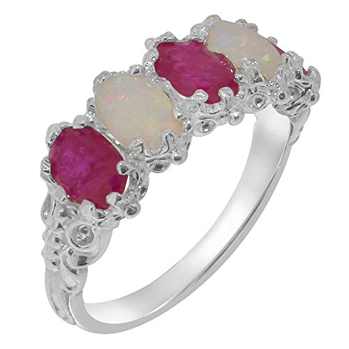 925 Sterling Silver Natural Ruby & Opal Womens Eternity Ring - Size Q -Sizes J to Z Available