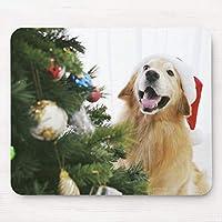 Recaso クリスマスツリーを見るゴールデン マウスパッド リストレスト ハンドレスト 疲労軽減 疲れにくい かわいい プレゼント おしゃれ 癒し お洒落 動物マウスパッド 20X25CM