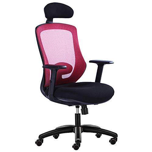 JIEER-C stoel bureaustoel Moderne eenvoud Verstelbare taille pad Actieve hoofdsteun Mesh ontwerp Comfortabel en ademend Boss draaibare stoel Leergewicht 250kg (Kleur : RED) Rood