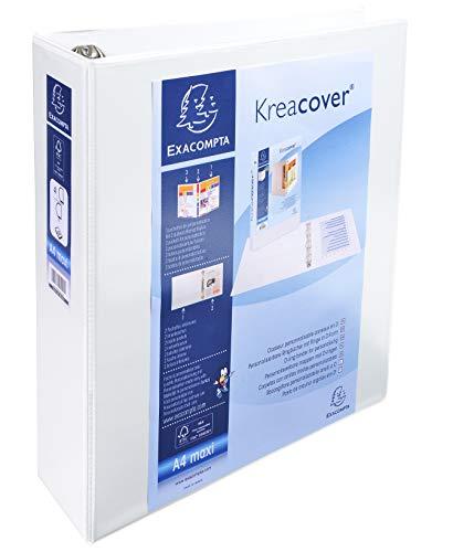 Exacompta 51845E - Carpeta 4 anillas mixtas 60 mm forrada 3 bolsillos exteriores krea cover, A4 maxi, blanco