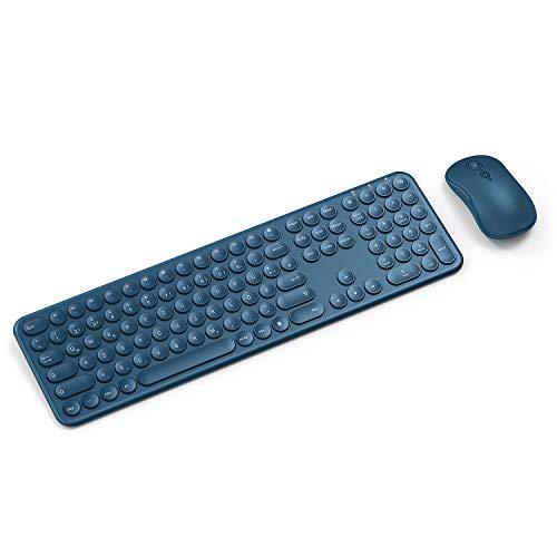 Tastatur Maus Set, Runde Tasten Kabellose Tastatur mit Ziffernblock + Optische Leise Maus, Feine Kombination für PC, Laptop usw, Saphirblau