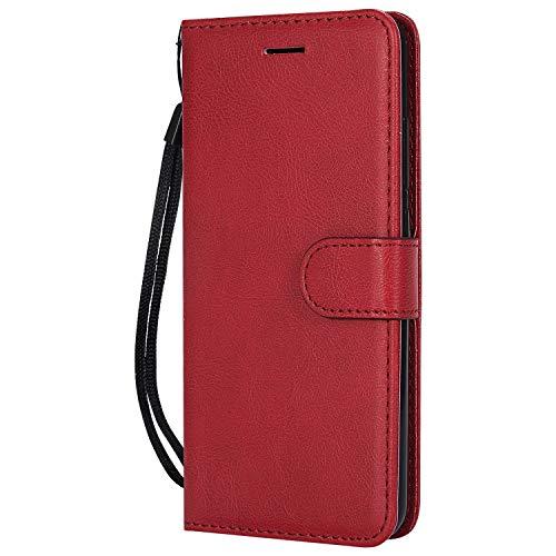 Hülle für Xiaomi Redmi 6Pro / Mi A2 Lite Hülle Handyhülle [Standfunktion] [Kartenfach] Tasche Flip Hülle Cover Etui Schutzhülle lederhülle flip case für Xiaomi Redmi 6 Pro - DEKT051895 Rot