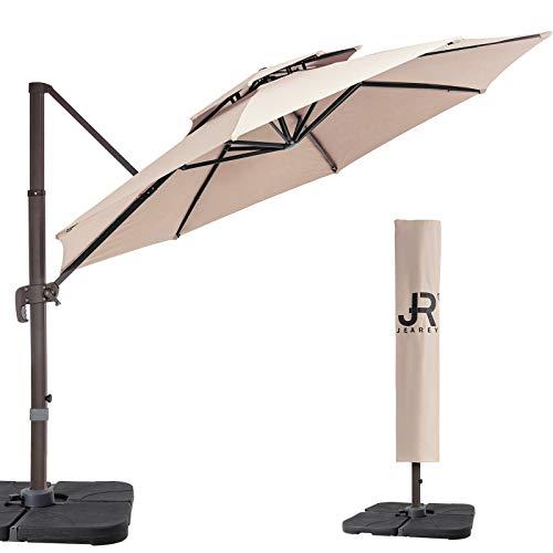 JEAREY 9 Feet Double Top Round Deluxe Patio Umbrella Offset Hanging Umbrella Cantilever Patio Umbrella Outdoor Market Umbrella Garden Umbrella, Tan