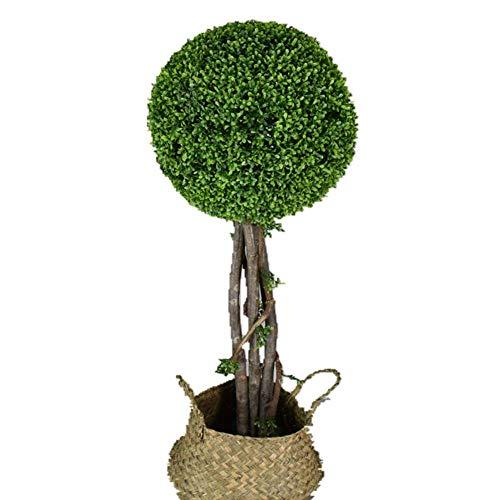 Maiaro Árbol Artificial De La Bola De La Hierba, Árbol De La Decoración del Árbol del Boj, Decoración Simple De La Ventana,Withrattanpot,130Cm