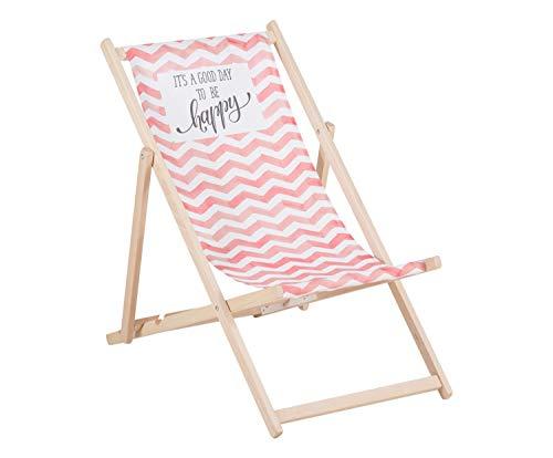 Queence   Dekorativer Holz-Liegestuhl   klappbar   Gartenliege   Strandliege   Sonnenliege   Gartenmöbel   120x60 cm   Verschiedene Motive, Größe:ca. 120x60 cm Rosa