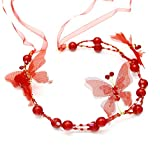 XNheadPS Tocado Nupcial Banda de Pelo de Mariposa con Cuentas de Cristal Elegante Tocado Accesorio de Boda (Color : Red)