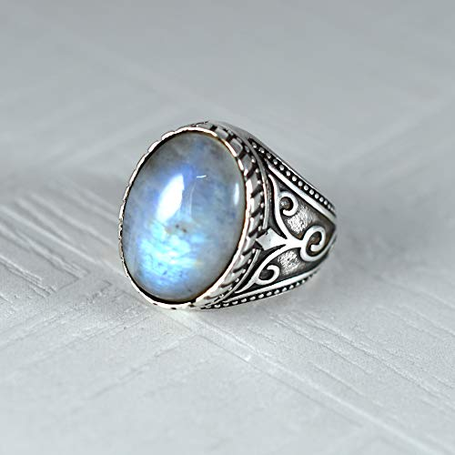 925 Sterling Silver Ring, Oval Cab, Rainbow Moonstone Ring, Handmade, Celtic Designer, Fine Ring, Statement Jewelry, Natural Blue Fire Moonstone, Men's, Boys, Good Friday, Wedding Anniversary Gift