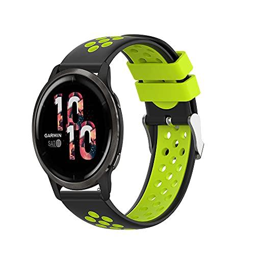 Correa deportiva de silicona compatible con Garmin Venu 2S / 2, correa de repuesto de goma transpirable resistente al sudor compatible con el reloj inteligente Venu 2 / 2S