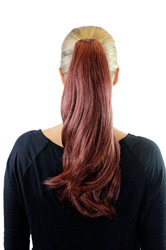 Extension, pastiche, rouge, couette/tresse, pince papillon, lisse, env. 45 cm, XF-0063A-35