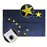 FLAGBURG Alaska State Flag 3x5 FT, AK State Flag 5x3 Foot, The Last Frontier Flag with Heavy Duty Embroidered Star, Outdoor Indoor All Weather 210D Nylon Flag with Strong Canvas Header/Brass Grommets
