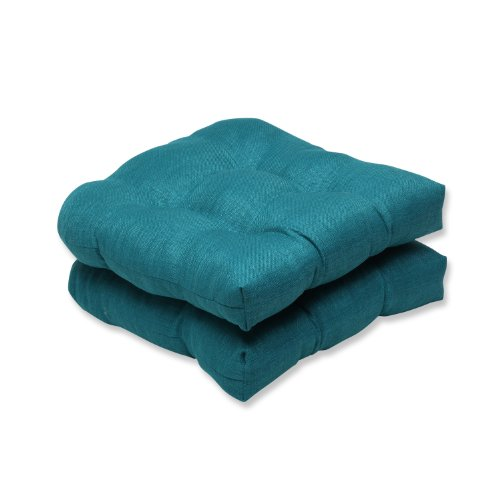 Pillow Perfect Indoor/Outdoor Rave Teal Wicker Seat Cushion, Set of 2,Green,19' x 19'