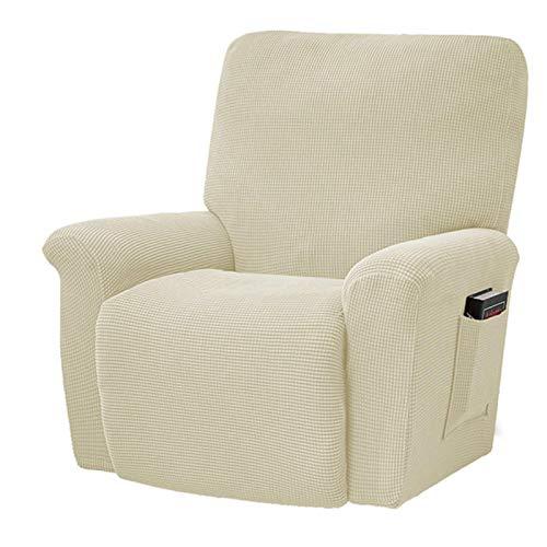 Funda de sofá elástica reclinable de Estilo Europeo, Gris carbón, Forro Polar Grueso, Almohadilla de protección reclinable, Funda Antideslizante para Muebles, Beige