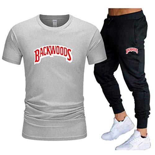 GIRLXV Backwoods Camiseta Traje De Manga De Algodón para Hombre Hip-Hop Street Street Pantalones Casuales De Manga Corta Traje Deportivo Superior XL