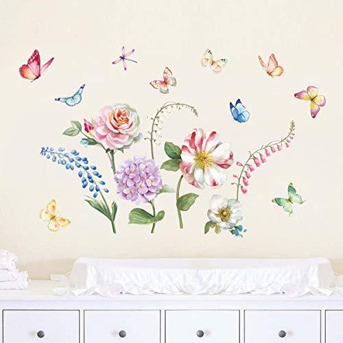 decalmile Pegatinas de Pared Jardín de Flores Vinilos Decorativos Rosa Peonía Adhesivos Pared Niña Infantiles Habitación Salón Dormitorio