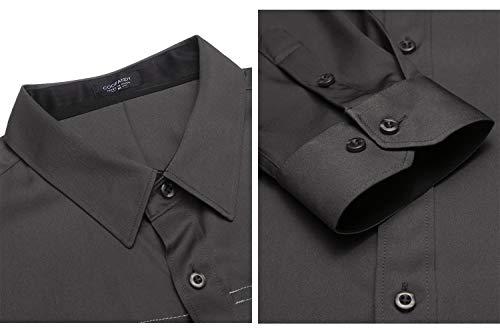 COOFANDY Herren Hemd Slim Fit Langarmhemd Freizeit Kentkragen Sommer Herren Hemden Business Party Shirt Für Männer Grau M - 5