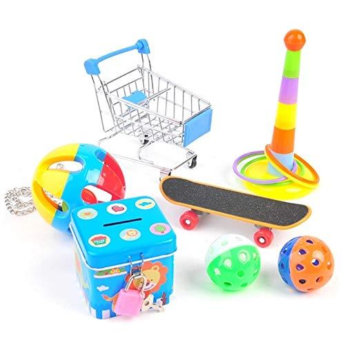 WYHM Pet Bird Supplies Toys Pet Bird Bite Chew Toys Set Mini Shopping Cart Stacking Ring Ball Piggy Bank Skateboard Parrot Interactive Toy for Macaws 090C (Color : B)
