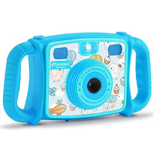 DROGRACE Kinderkamera mit 4-fachem Zoom, Blitzlicht, 4-stufige Lautstärke und ABS-Griffen für Jungen und Mädchen Geburtstag