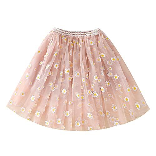 Grace&Nora Falda tutú de verano para niña pequeña, linda margarita impresa en capas de cintura elástica Midi faldas de tul