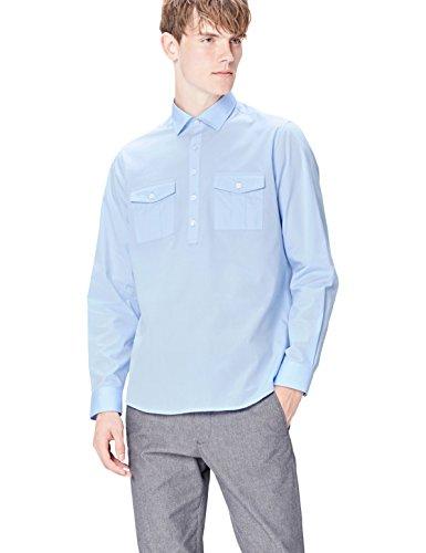 Marque Amazon - find. Chemise avec Poches à Rabat Homme, Bleu (Azure), 41 cm, Label: XL