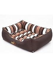 Hobbydog L CORBZP14 Dog Bed Comfort L 65X50 cm Brown met strepen, L, Brown, 1.8 kg