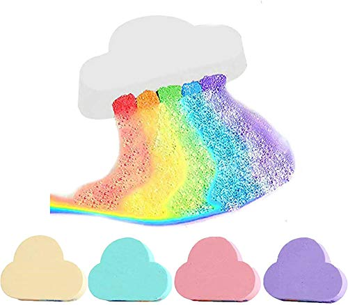 PETSBURG Neefty Rainbow Bath Bomb, Magic Rainbow Bath Bomb,Natural Skin Care Cloud Rainbow Bath Salt Shower Bomb,Exfoliating Moisturizing Bubble Bath Bombs Ball (White)