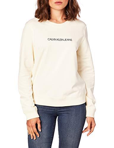 Calvin Klein Jeans Damen INSTITUTIONAL Regular Crew Neck Pullover, Winter-Weiß, L