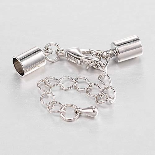 Beadthoven - 5 juegos de cierres de cordón de cuero con cierre de pinza de langosta y tapas de metal para extensión de cadena de cuentas de gota para pulseras de 4/5/6 mm, platino
