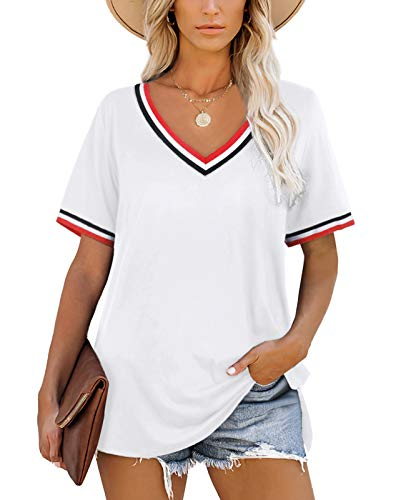 Tops for Women Short Sleeve V Neck Stripes T Shirts Casual White Tshirts 2XL
