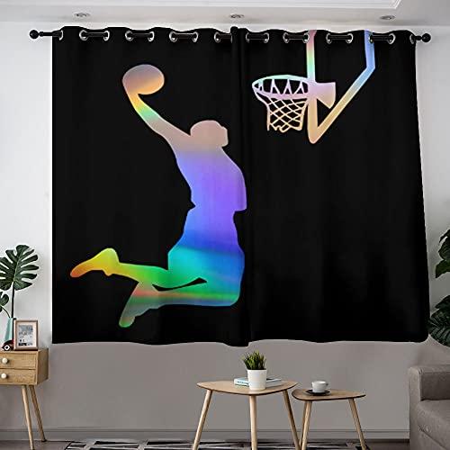 Cortinas de baloncesto para disparar una canasta con ojales de dibujos animados para filtrar la luz, perfecta para dormitorio, sala de estar, oficina y más de 42 cm de ancho x 63 cm de largo