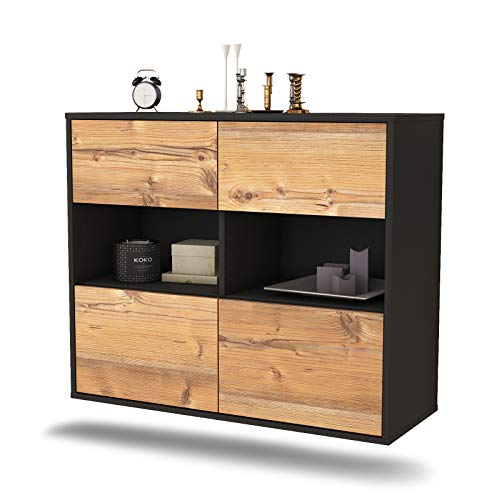 Dekati dressoir Richmond hangend (92x77x35cm) Corpus antraciet mat | Front Hout Design | Push-to-Open modern pijnboom