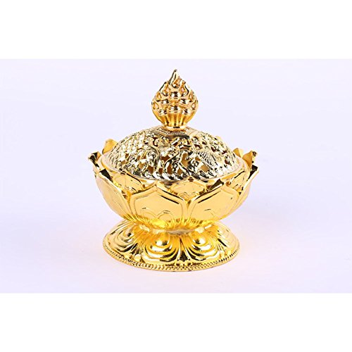 Ocama Pretty Alloy Lotus Incense Burner Exquisite Censer Home Office Hotel Decoration Gift